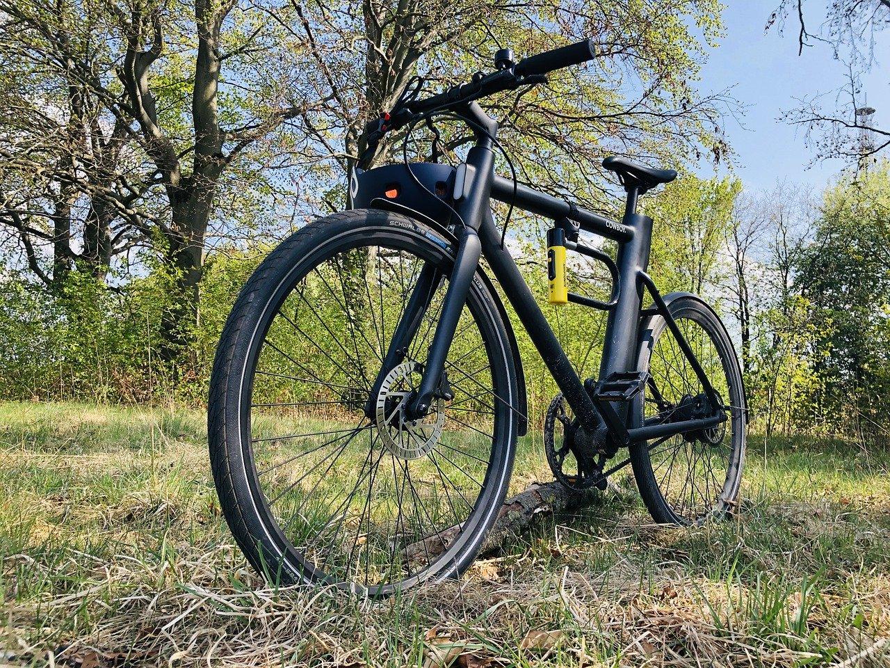 Vélo électrique Noir posé dans une forêt